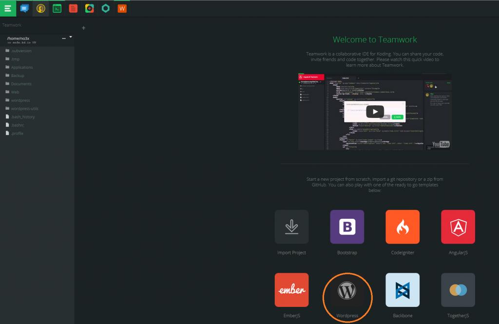 Install wordpress on koding.io